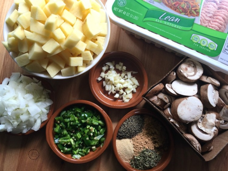 Ingredients for the Mexican Turkey Picadillo Tostada Bowl