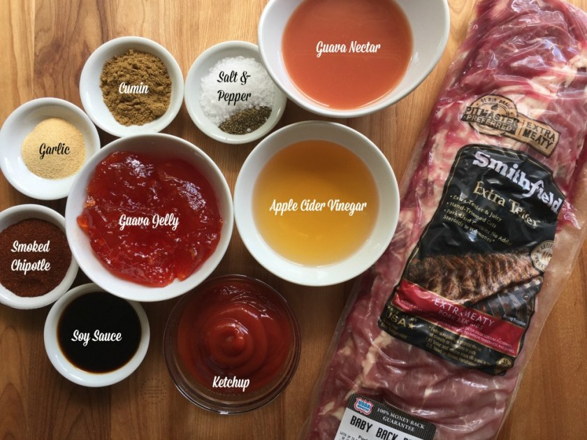 The ingredients for the BBQ sauce include guava jam and chipotle powder