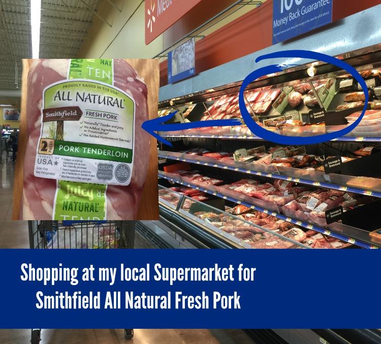 De compras en el supermercado donde compré el lomo de puerco Smithfield All Natural Fresh Pork