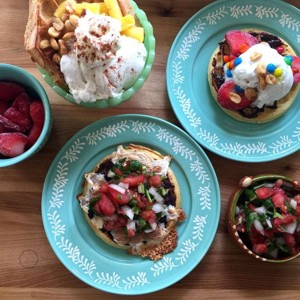 A savory main dish and two dessert options for a Waffle Breakfast Dinner menu