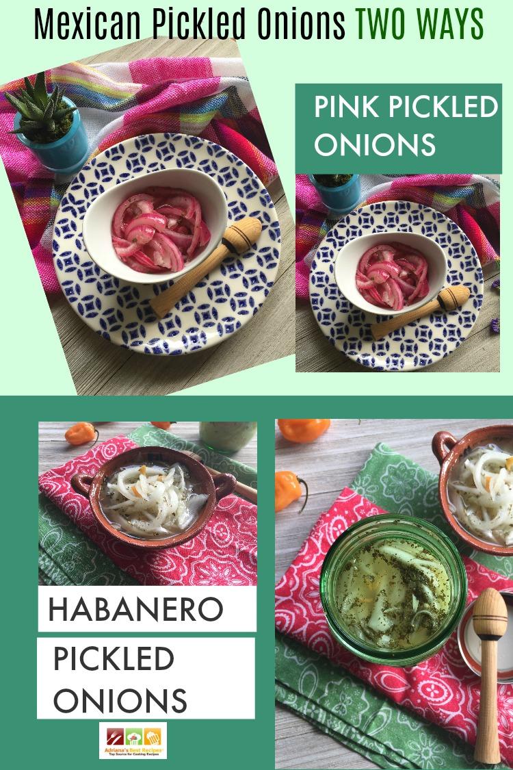 Cebollas en escabeche al estilo mexicano. Dos recetas en una. Cebollitas rosadas o cebollitas picantes