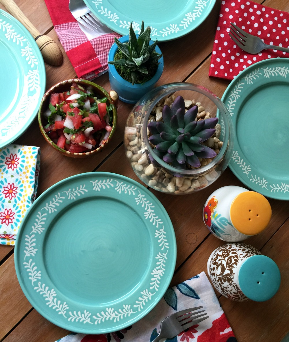 Setting up for an al fresco dinner using a colorful palette
