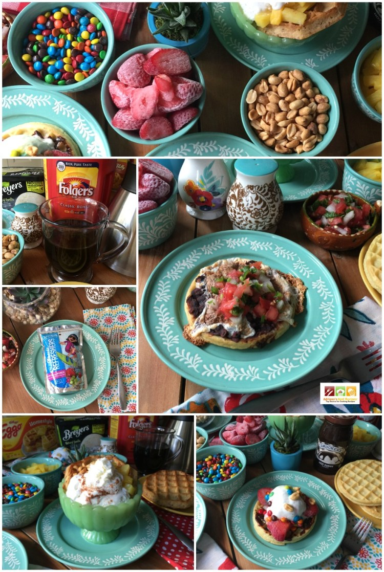 This waffle breakfast dinner menuis simple and ready in a few minutes. Best of all is that everyone can have fun making their own waffle creation