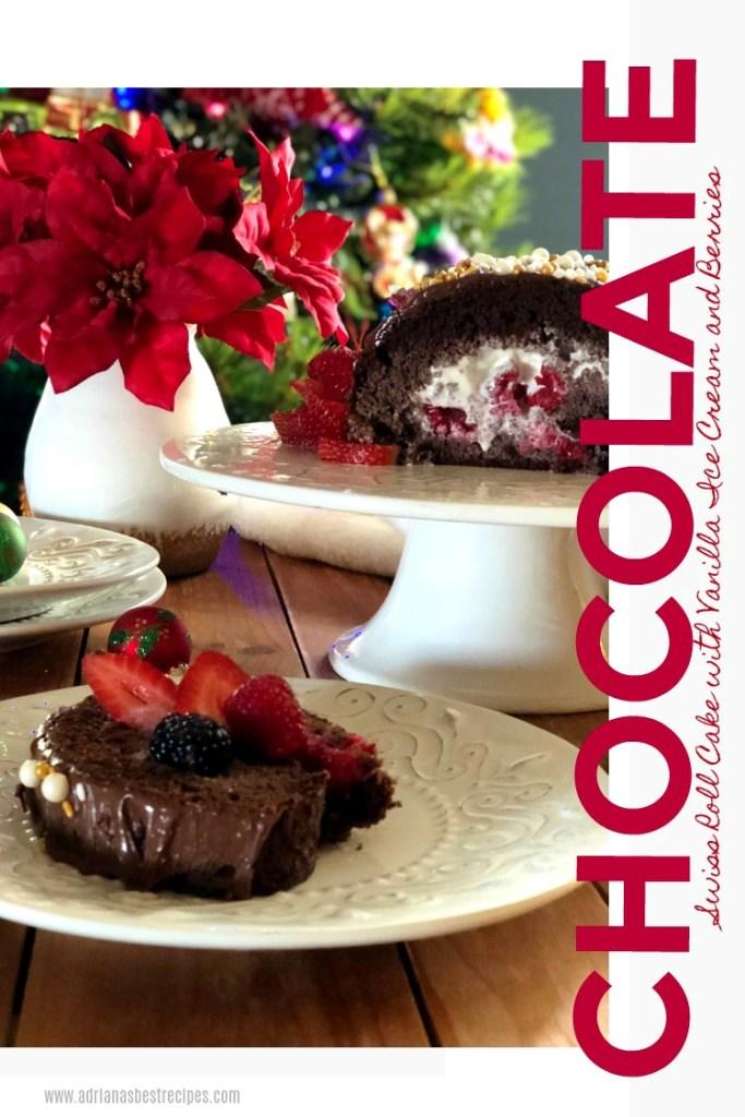 Un rollo de chocolate suizo relleno con helado de vainilla y bayas de temporada. Cubierto con Nutella y decorado con perlitas de azúcar blancas y doradas