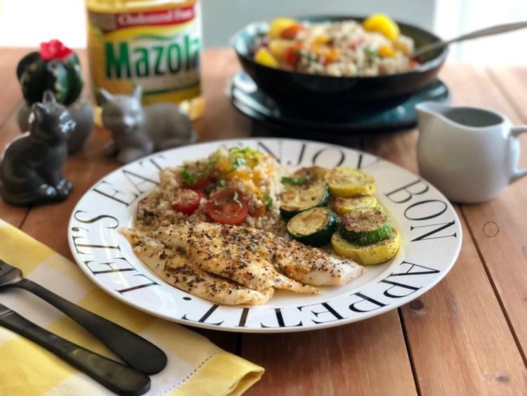 Lemon Garlic Flounder Dinner