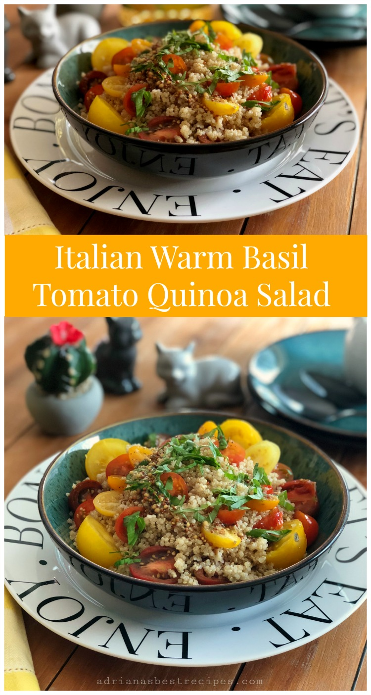 An Italian warm basil tomato quinoa salad prepared with fresh heirloom cherry tomatoes and fresh basil leafs. Drizzled with a simple mustard seed vinaigrette.