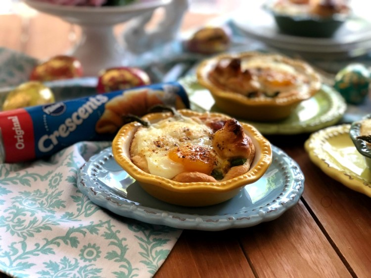The bacon asparagus egg mini pies are made with Pillsbury Refrigerated Original Crescent Rolls
