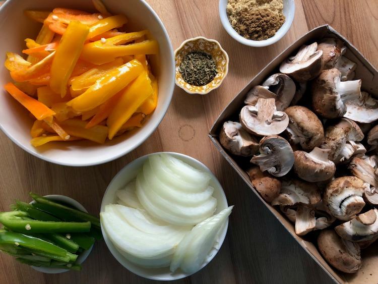 Ingredients for the Florida mushroom fajitas