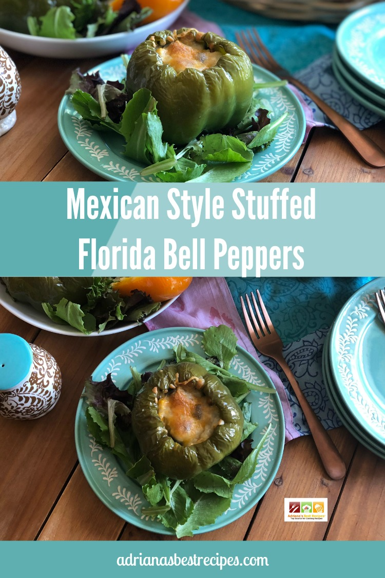 Enjoy this Mexican Style Stuffed Florida Bell Peppers with a meatless twist. This recipe uses few ingredients and it is ready in 30 minutes or less. Perfect idea for repurposing leftover rice and beans.