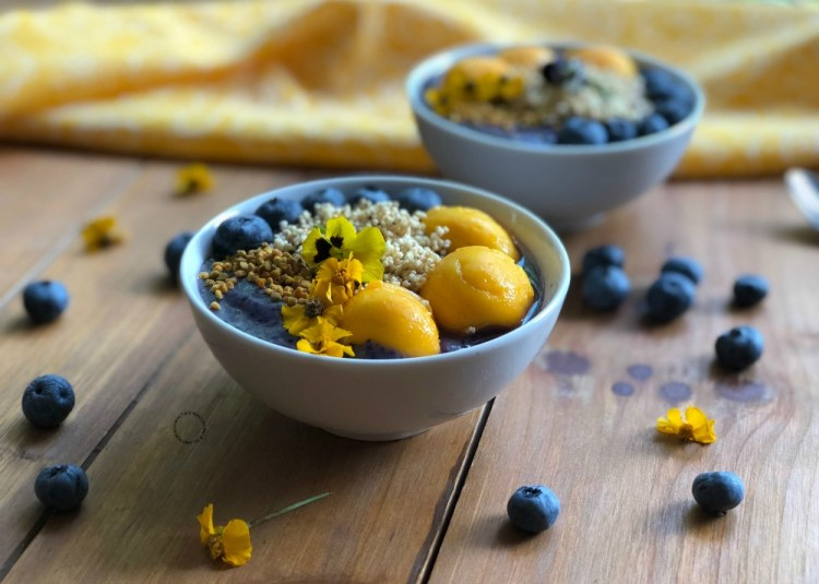 Delightful blueberry power smoothie bowl