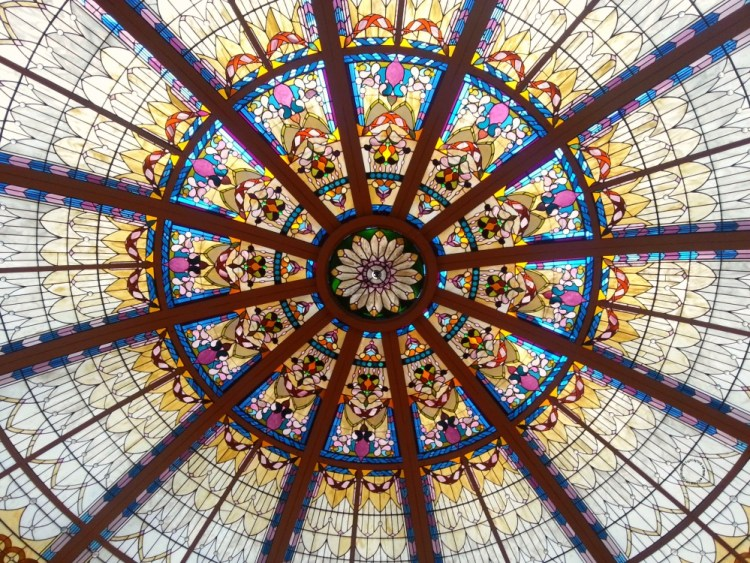 The stained glass dome in the Fairmont Empress Palm Court