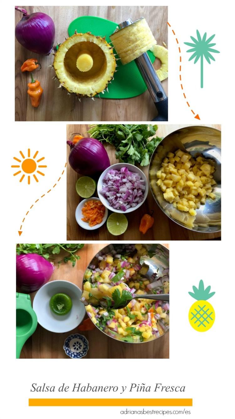 Preparando salsa de habanero y piña fresca