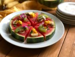 A fresh watermelon pizza for the back to school menu
