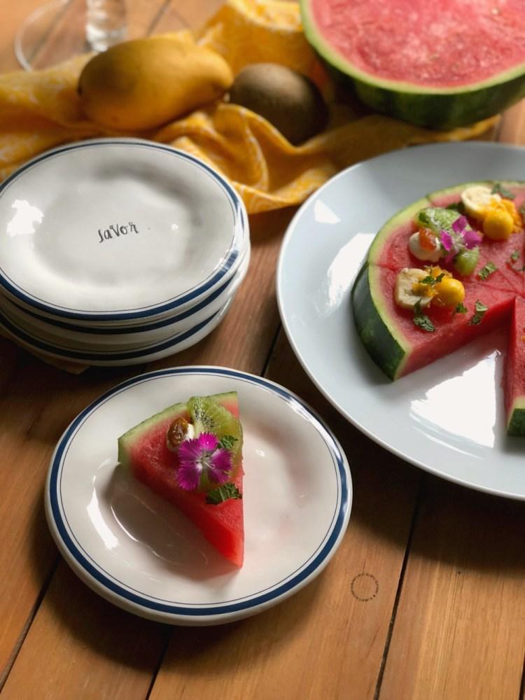 Savor a slice of fresh watermelon pizza as a snack