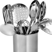 Set of stainless steel cooking utensils