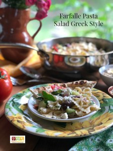 The farfalle pasta salad Greek style is a perfect starter to a family dinner