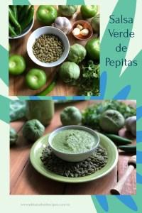 Esta receta para la salsa verde de pepitas está hecha con pepitas de calabaza tostadas