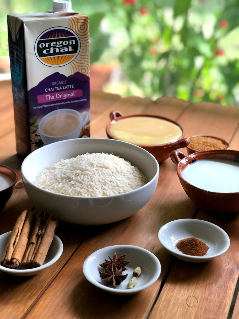 Ingredients for making the Chai Latte Rice Pudding