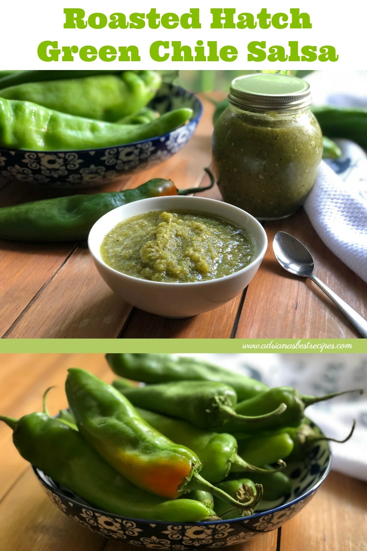 It is hatch chile season, let's make roasted hatch green chile salsa. Hatch chile is also called New Mexico chile or New Mexican chile typically grown in Santa Fe, New Mexico in an area called Hatch Valley. These chiles are mild similar to poblano peppers, but some could be hotter on the level of spiciness of jalapeño peppers.