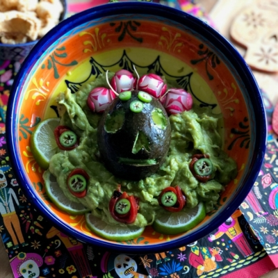 Skull Guacamole for Day of the Dead