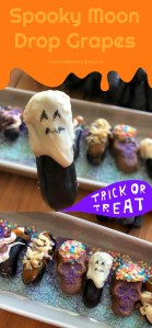 The Spooky Moon Drop Grapes for Halloween are made with a bunch of Moon Drop® Grapes, soften caramel, white and milk chocolate. Chopped walnuts, purple and blue sugar. Optional an edible ink marker to paint spooky faces.