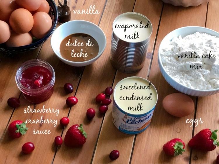 Ingredients for making the vanilla flan cake