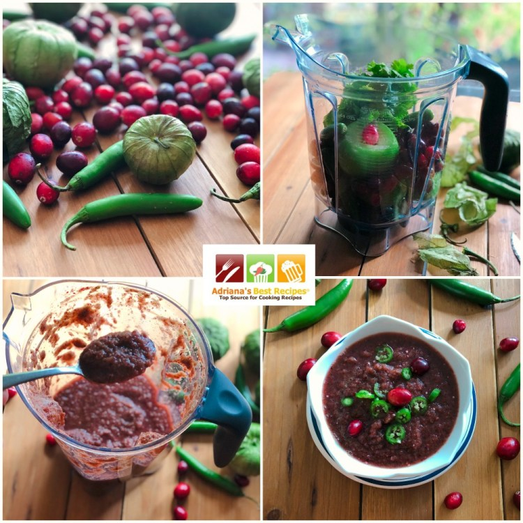 Process for making the cranberry tomatillo spicy salsa