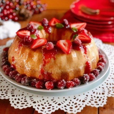 Recipe for the Vanilla Flan Cake with Berry Sauce