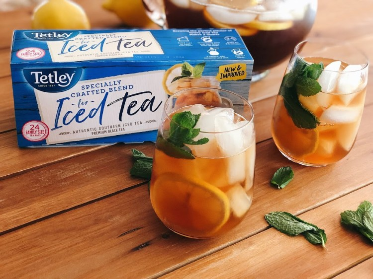 Enjoy an afternoon glass of Tetley Tea for a refreshing pick-me-up