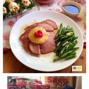 This is a complete Easter Menu on a budget. Includes all the fixings and dessert. All ingredients purchased at Save A Lot. The table is set up festive with flowers and bunny figurines.