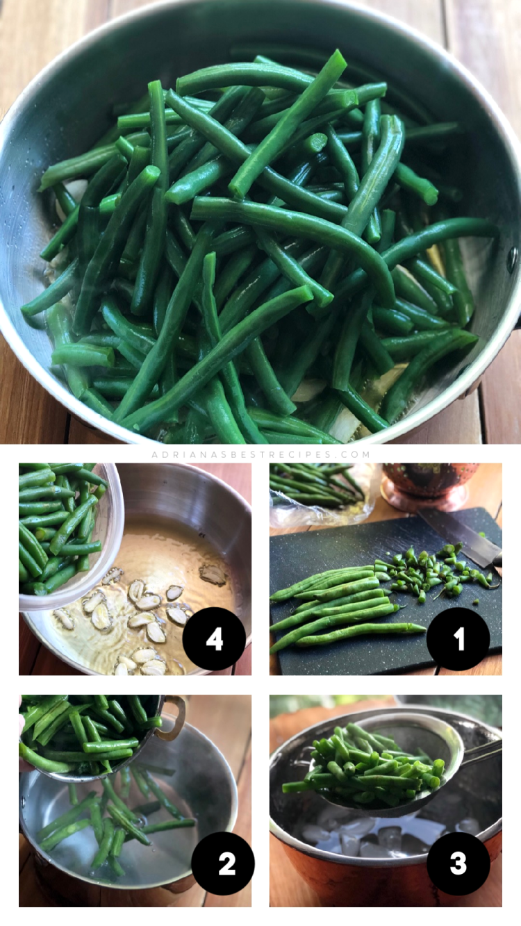 The step by step includes blanching first and then sautéing to preserve the green deep color of the produce