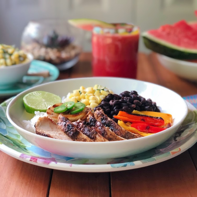 The food for our Mexican fiesta Florida style includes a grilled chicken bowl, sweet corn salsa, watermelon juice, and blueberry cupcakes