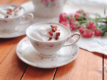 A soothing rose tea latte to celebrate mothers day