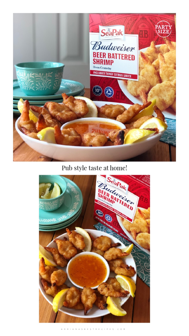 The SeaPak Budweiser Beer-Battered Shrimps are super easy to make. Just follow the instructions in the package and enjoy