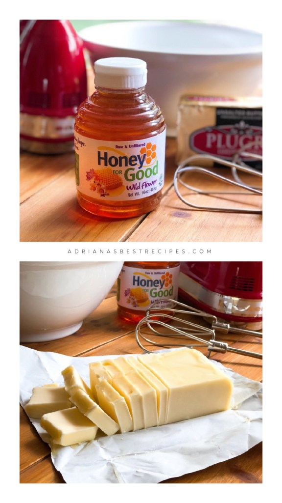 The two ingredients for this recipe are unsalted butter and unfiltered raw honey from Florida.
