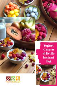 Esta es la receta clásica para del Yogurt Casero adaptada para el Instant Pot. Requiere solo tres ingredientes y el resultado es fantástico. Los ingredientes incluyen leche de vaca fresca, yogurt natural con cultivos vivos, y leche en polvo. Para endulzar usamos miel de abeja y fruta fresca.