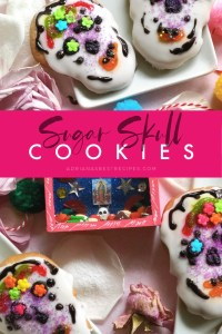 The sugar skull cookies are homemade sugar cookies baked to celebrate the Day of the Dead. These are tasty decorative edible cookies with colorful motifs. Easy to make and all the family can participate in the process. These tasty sugar skull cookies come together using sifted all-purpose flour, sugar, almond and vanilla extract, butter, baking soda, and a pinch of salt. For decorating we used royal icing, sugar flowers, colored sugar, and colored icing.