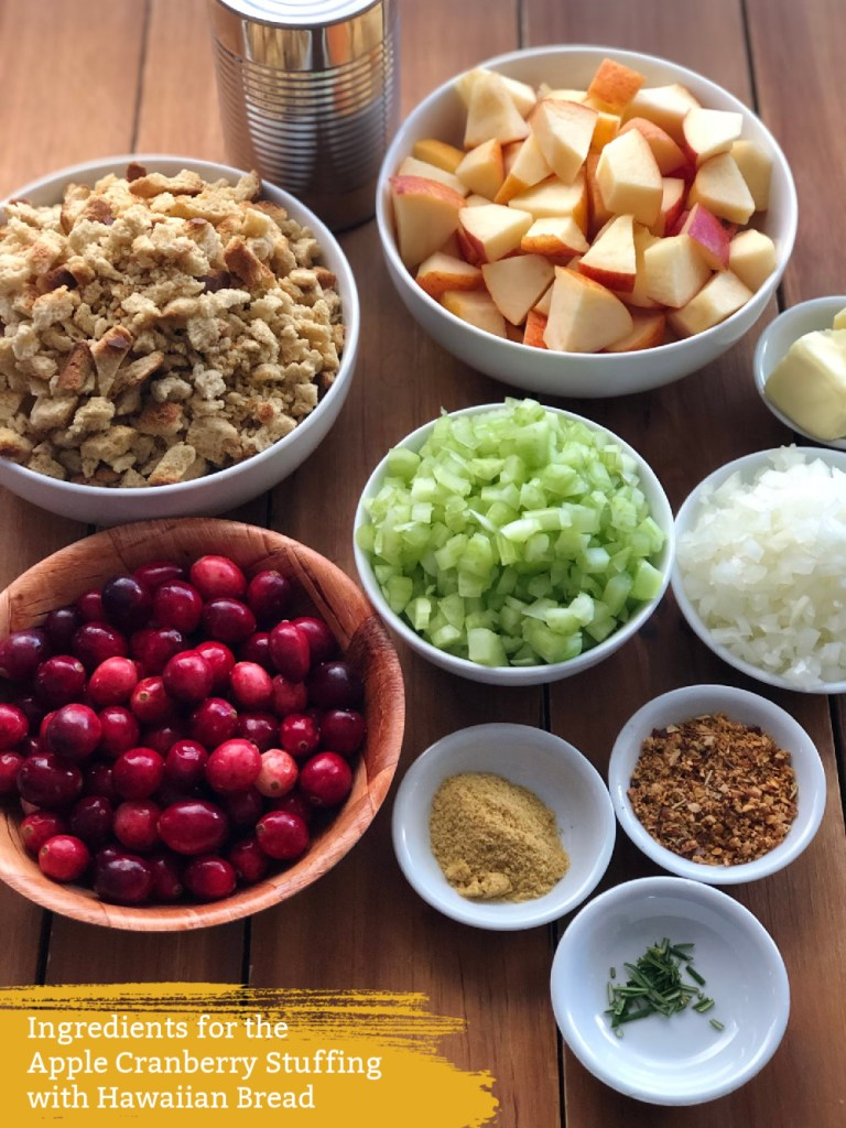 The ingredients include Envy apples, celery, onion, fresh cranberries, Hawaiian breadcrumbs, and spices