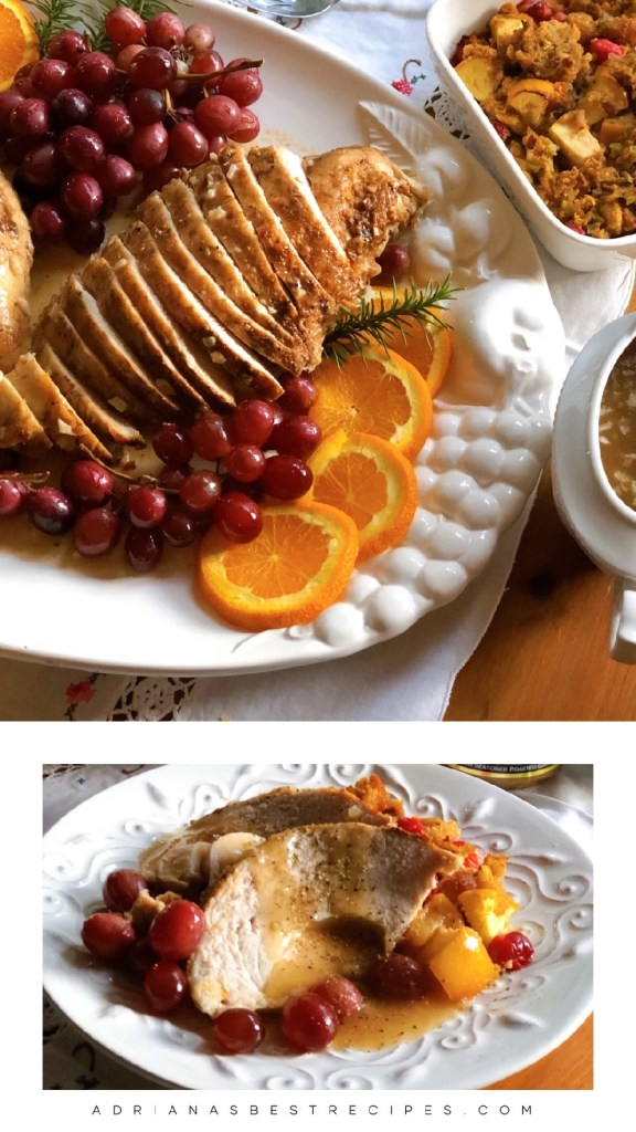A white turkey meat dinner with roasted grapes