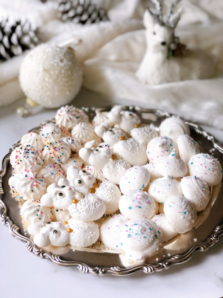 Classic holiday meringues served on a silver plate. They come in drops, flurries, and mouse shapes.