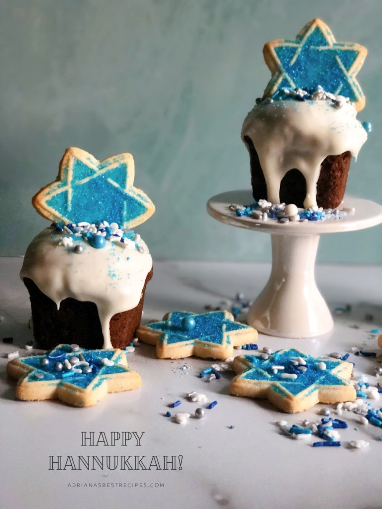 Cupcakes with Star of David Cookie on top