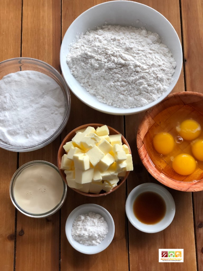 The ingredients for the buttery cake include self-rising flour, butter, caster sugar, eggs, and baking soda.