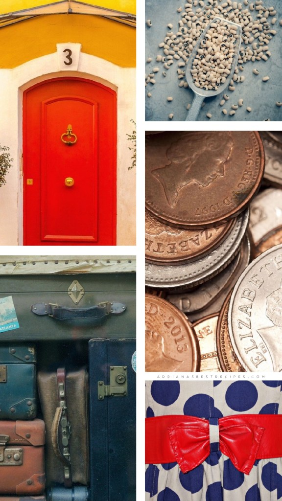 New years customs from around the world include painting the front door in a red color, throwing coins, and wearing polka dots