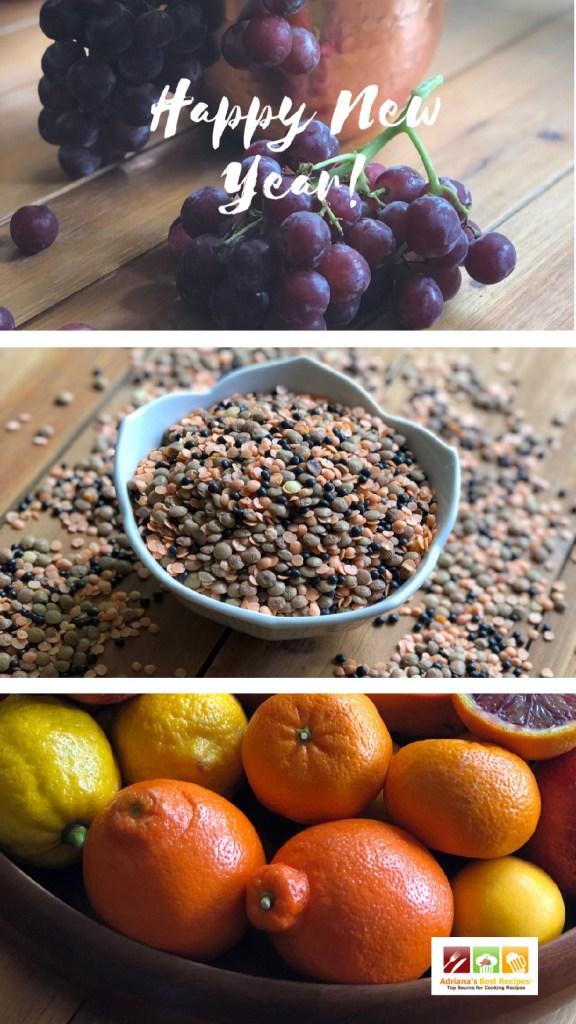 Los alimentos redondos como las lentejas, las uvas y los cítricos representan la prosperidad.