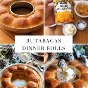 Celebrating the holidays with a southern cuisine favorite: rutabagas dinner rolls formed into a wreath. The main ingredient is canned diced rutabagas from Margaret Holmes, a McCall Farms brand. But we are also using all-purpose unbleached flour, one egg yolk, dry instant yeast, lukewarm water, butter, sugar, and salt.