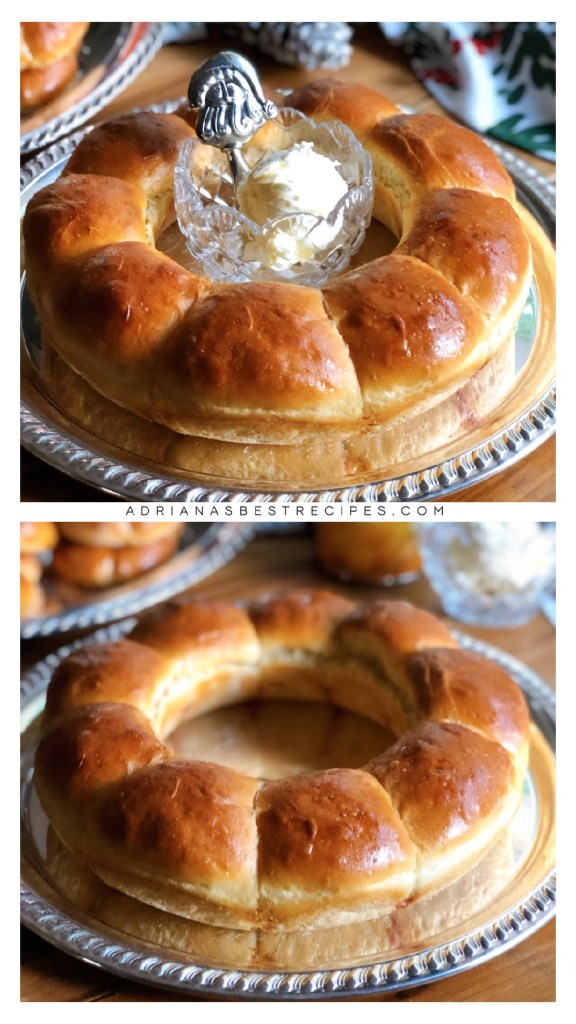 Serving the dinner rolls with a side of whipped butter on a silver plate. The rolls are made with McCalls Farms canned products.