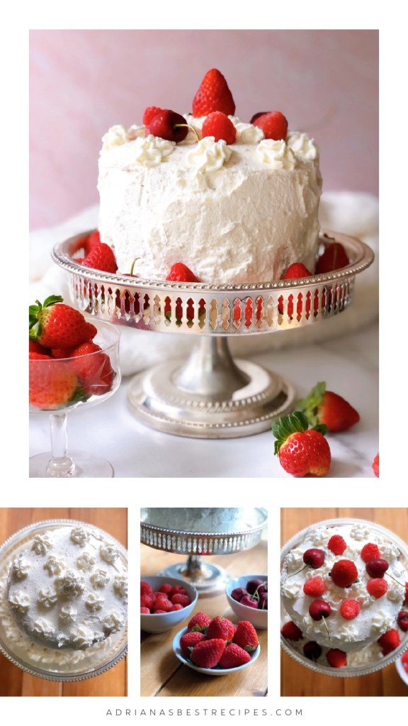 Finishing the cake with stabilized whipped cream and fresh berries