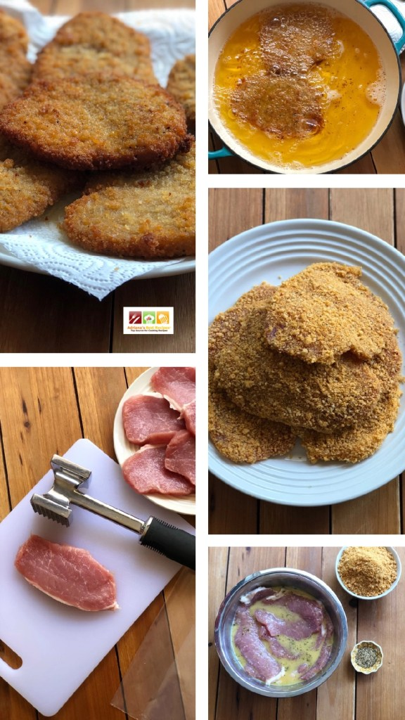 The pork milanesas are thin steaks made with pork loin and flattened with a tenderizer. Then breaded and fried.