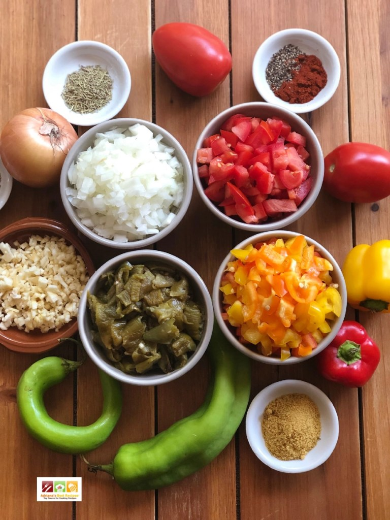 Ingredients for the Mexican inspired shepherds pie include fresh produce, peppers, onion, garlic, turkey, and spices