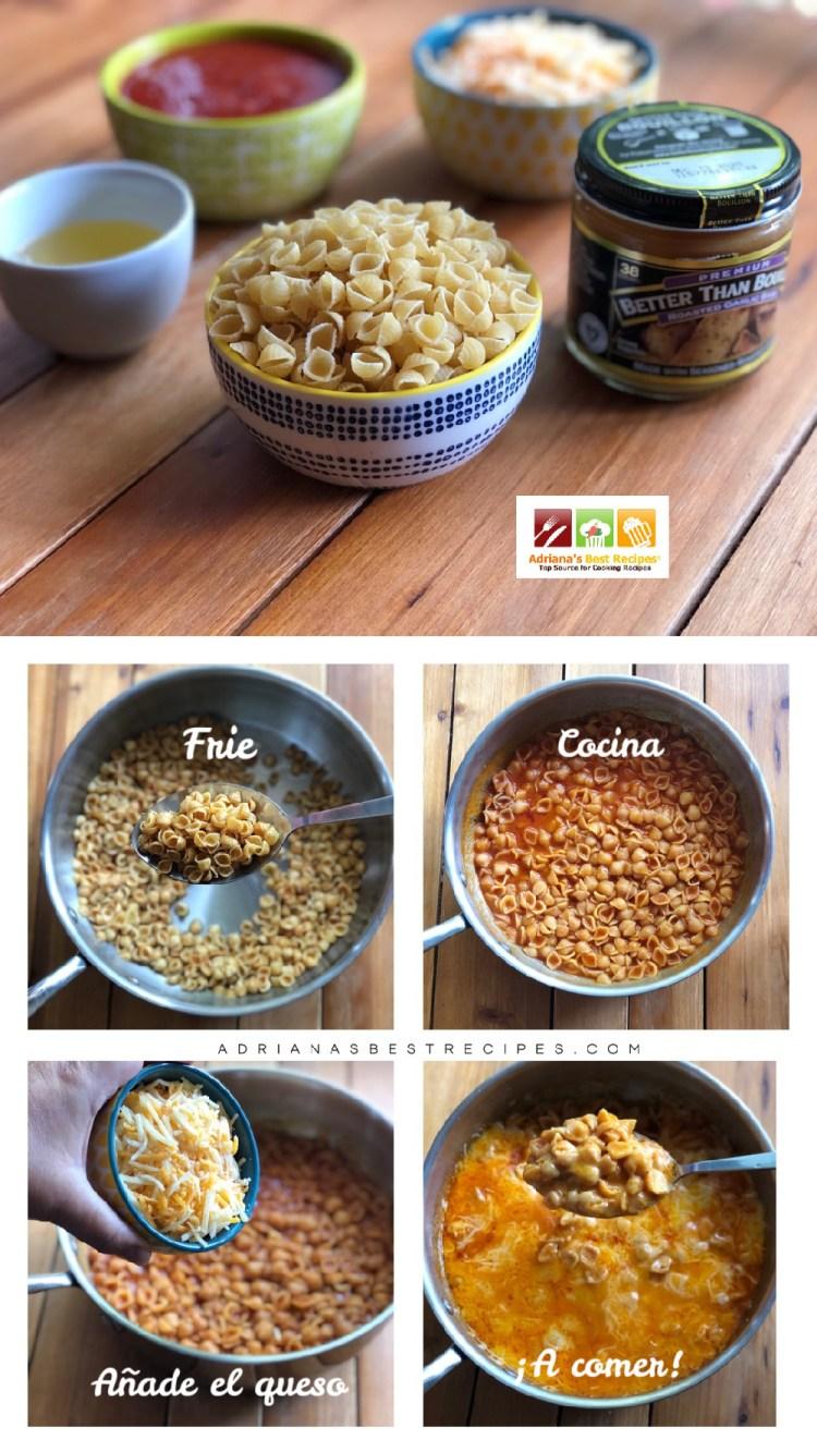 El proceso de cocinado incluye freír, sofreír, cocinar y agregar el queso